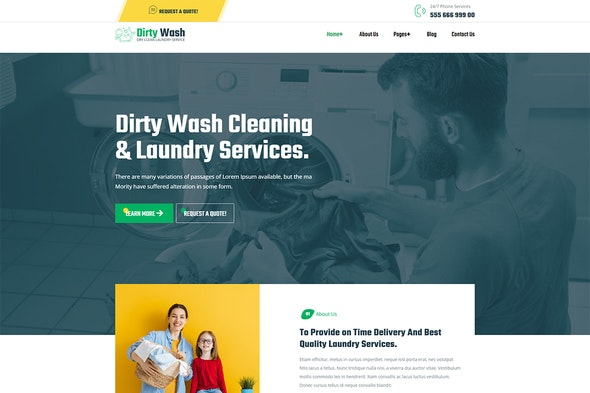 DirtyWash - Dry Cleaning & Laundry Service Elementor Template Kit - Business & Services Elementor