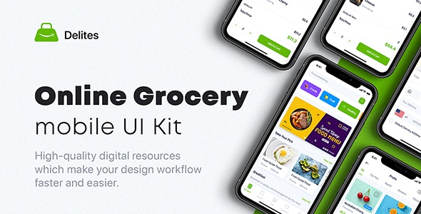 Delites - Online Grocery & Recipes UI Kit for Figma - Figma UI Templates