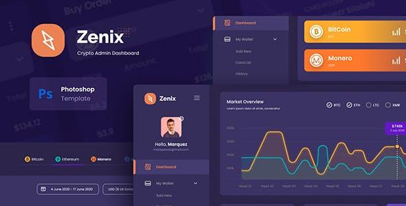 Zenix - Crypto Admin Dashboard UI Template PSD