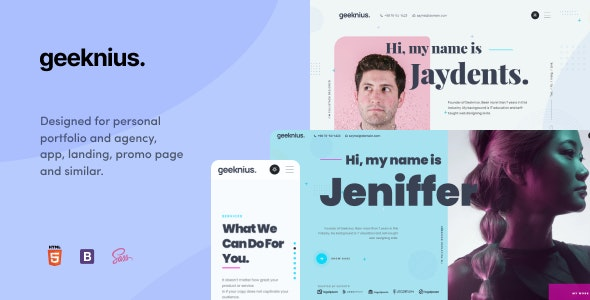 Geeknius - Modern & Creative CV/Resume HTML & SASS Template - Personal Site Templates