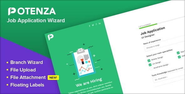 Potenza - Job Application Form Wizard - Specialty Pages Site Templates