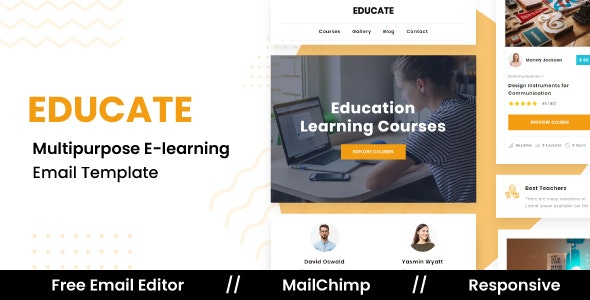 EDUCATE - Responsive Email Template For Education & E-Learning With Free Email Editor - Newsletters Email Templates