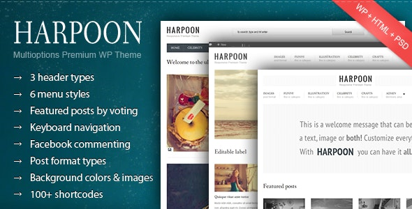 Harpoon - Multioptions Responsive WP Theme - Blog / Magazine WordPress