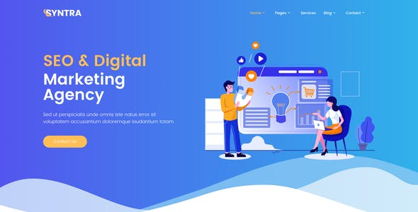 SYNTRA – SEO & Digital Marketing Agency Adobe XD Template