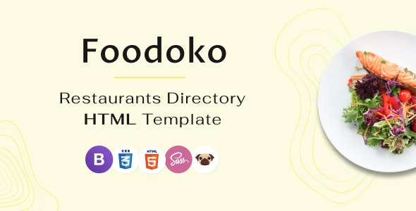 Foodoko - Restaurants Directory Multipurpose HTML Template, Food Delivery - Restaurants & Cafes Entertainment