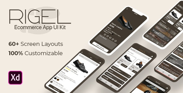 Rigel - Ecommerce App UI Template for XD - Retail Adobe XD