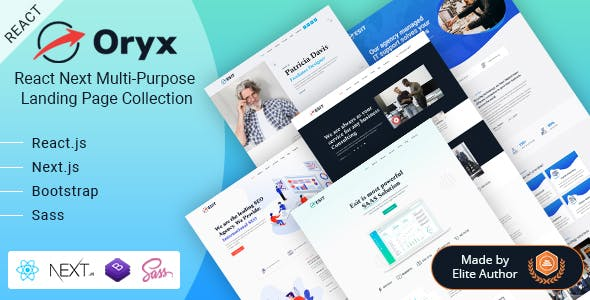 Download Oryx - React Next Multi-Purpose Landing Template