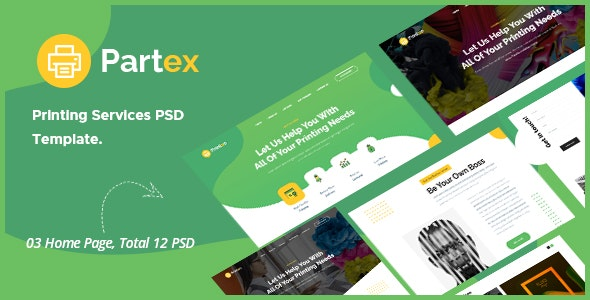Partex - Printing Services PSD Template - Creative Photoshop