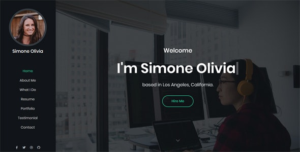 Simone - Personal Portfolio Template - Virtual Business Card Personal