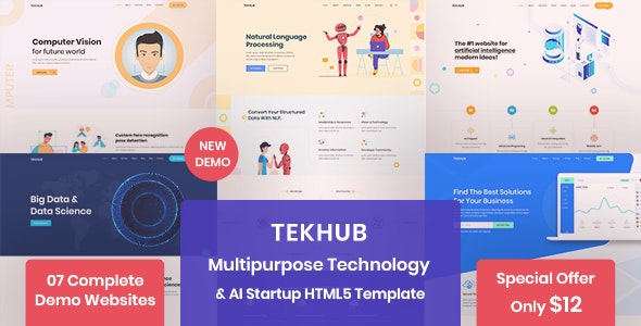 Tekhub - Multipurpose Technology, AI Startup & SAAS HTML5 Template - Technology Site Templates