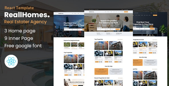 ReallHomes - Real Estate & Property Agency React Template - Business Corporate