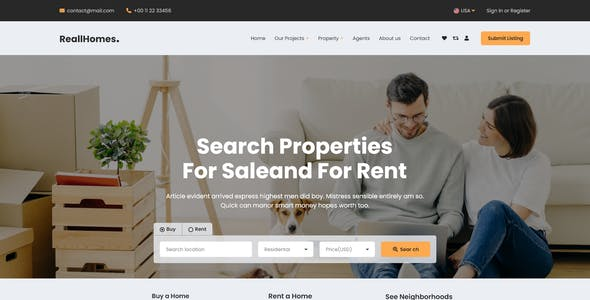 ReallHomes - Real Estate & Property Agency React Template