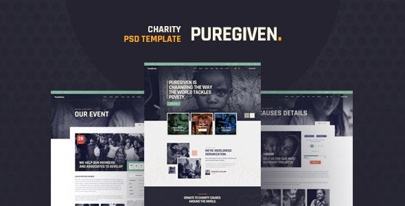 Puregiven - Nonprofit Charity PSD Template - Charity Nonprofit