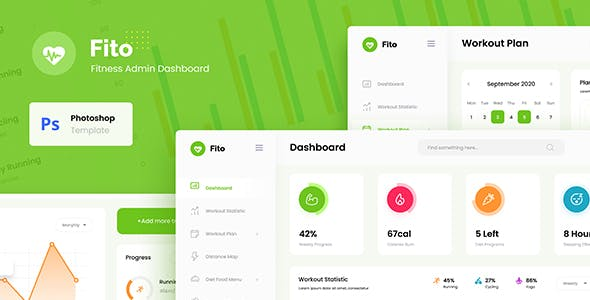 Fito - Fitness Website Admin Dashboard UI Template PSD