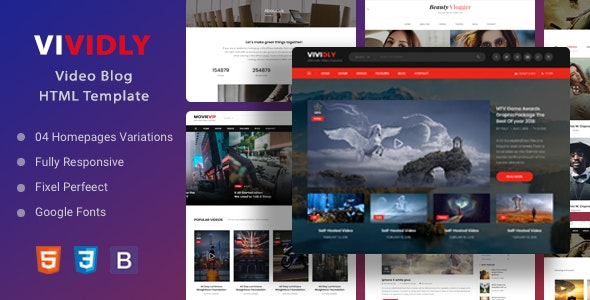 Vividly | Video Blog HTML Template - Business Corporate