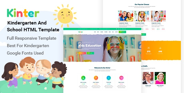 Kinter — Kids Kindergarten & School HTML5 Template - Children Retail