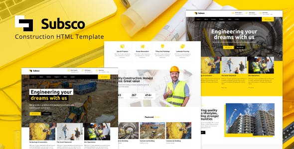 Download Subsco - Construction HTML Template