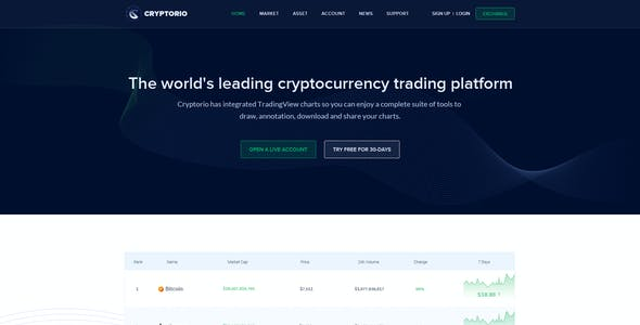 Cryptorio - Cryptocurrency Trading Dashboard UI KIT