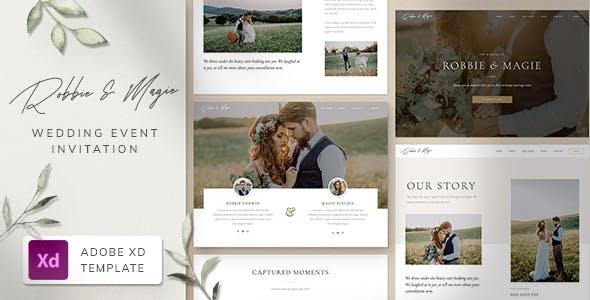 Robbie & Magie – Wedding Event Invitation Adobe XD Template