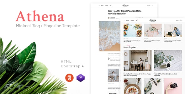 Athena - Minimal Blog/Magazine HTML Template - Creative Site Templates