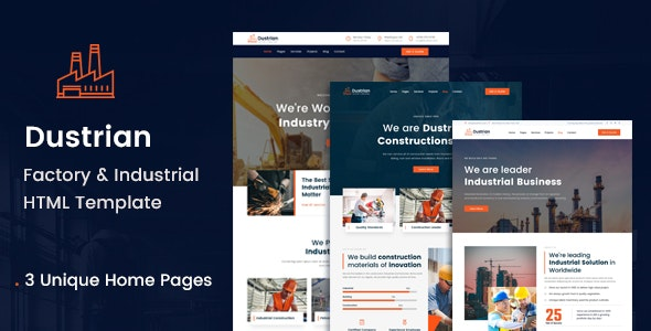 Dustrian - Factory & Industrial HTML Template - Business Corporate