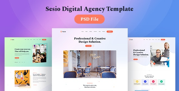 Sesio - Digital Agency PSD Template - Creative Photoshop
