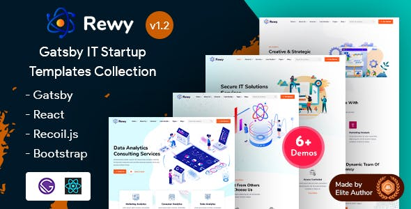 Download Rewy - Gatsby React IT Startup Template