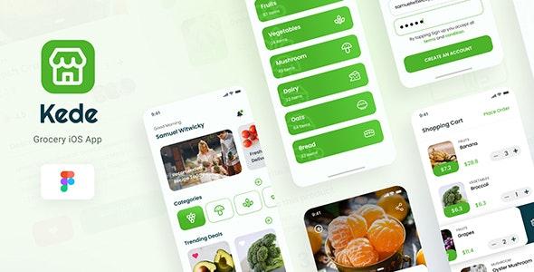 Kede - Grocery iOS App Design UI Figma Template - Retail Figma