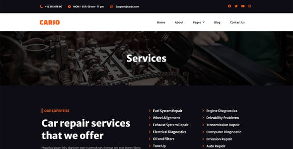 Carjo - Car Services & Repair Elementor Template Kit
