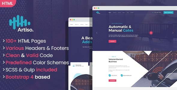 Artiso - Fence and Gates Company HTML Template - Business Corporate
