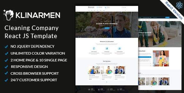 Klinarmen  - Cleaning Company React JS Responsive Website - Business Corporate
