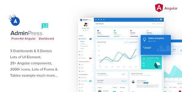 Admin Press Angular 10 Bootstrap Dashboard Template - Admin Templates Site Templates