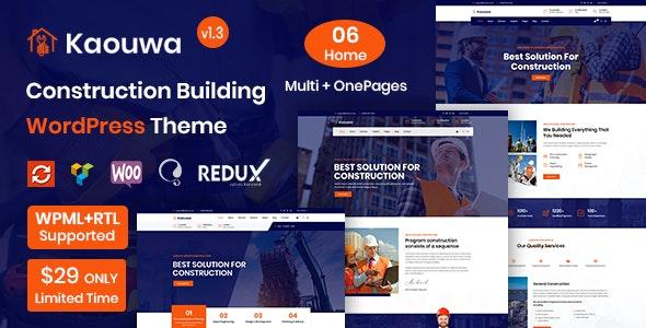 Kaouwa - WordPress Construction Building Theme - Business Corporate