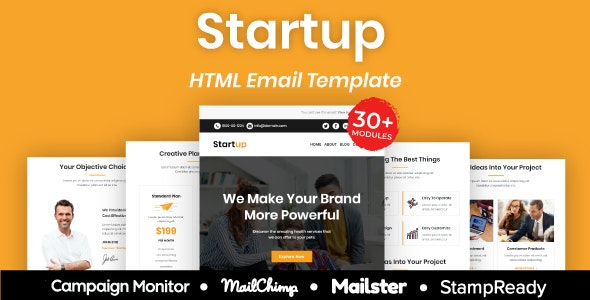 Startup - Multipurpose Responsive Email Template 30+ Modules Mailchimp - Newsletters Email Templates