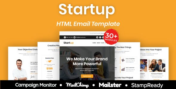 Startup - Multipurpose Responsive Email Template 30+ Modules Mailchimp