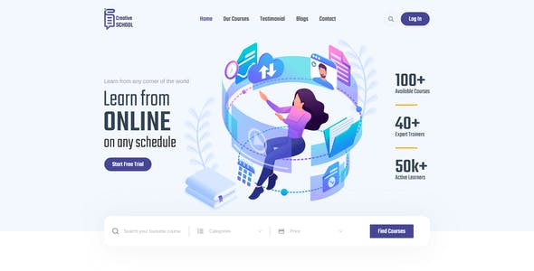 Creative School - Online Education Learning & LMS XD Template