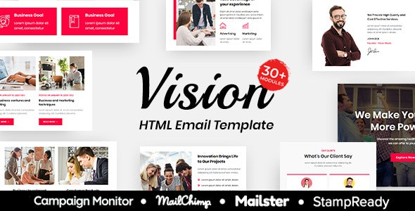 Vision - Multipurpose Responsive Email Template 30+ Modules Mailchimp - Newsletters Email Templates
