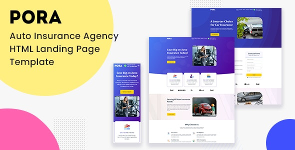 Pora - Auto Insurance Agency HTML Landing Page Template - Marketing Corporate