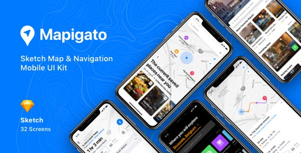 Mapigato - Sketch Map & Navigation Mobile UI Kit