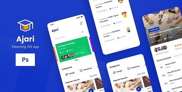 Ajari - E-learning iOS App Design UI Template PSD - Technology Photoshop