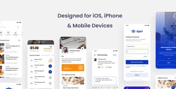 Ajari - E-learning iOS App Design UI Template PSD