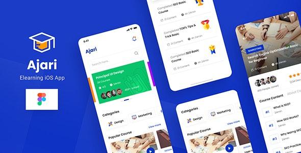 Ajari - E-learning iOS App Design UI Template Figma - Technology Figma