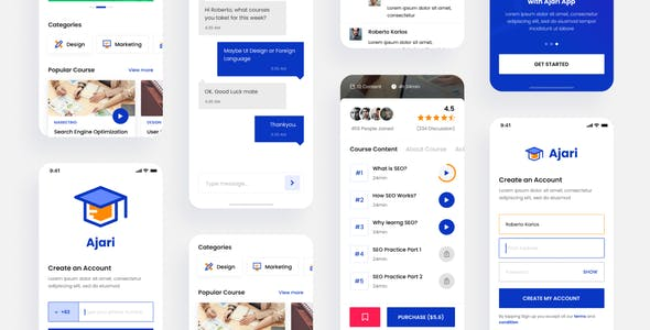 Ajari - E-learning iOS App Design UI Template Figma
