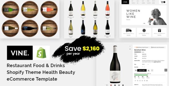 Vine - Restaurant Food & Drinks Shopify Theme Health Beauty eCommerce Template - Health & Beauty Shopify