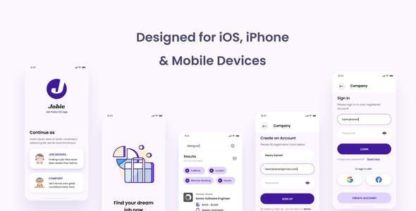 Jobie - Job Portal iOS App Design UI PSD Template