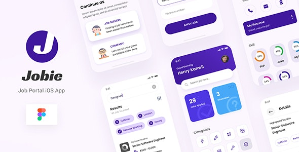 Jobie - Job Portal iOS App Design UI Figma Template - Business Corporate
