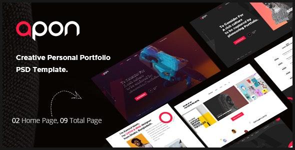 Apon - Minimal Personal Portfolio Adobe XD Template - Portfolio Creative