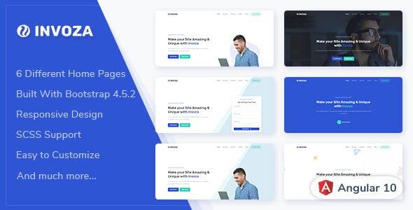 Invoza - Angular 10 Landing Page Template - Corporate Site Templates