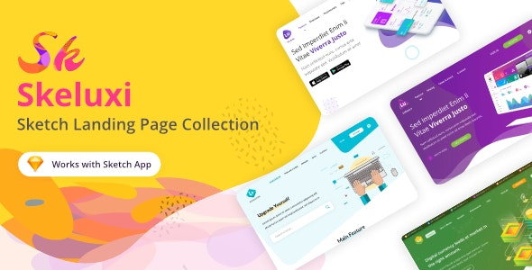 Skeluxi - Sketch Landing Page Collection - Sketch UI Templates