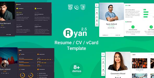 Ryan - CV Resume Template - Virtual Business Card Personal